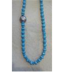 Faceted Turquoise  and silver necklace