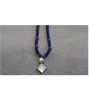 Lapis Rondelles and African trade bead necklace