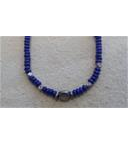 Lapis Rondelles and faceted sliver bead necklace