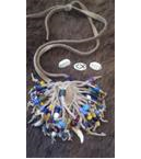 Antique Bead Neck Pouch with Sterling Silver Tokens