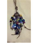 Antique Trade Bead and Deer Antler Necklace
